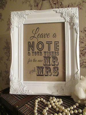 Wedding Wish Tree Sign Mr Mrs Wooden Shabby Chic Vintage Frame
